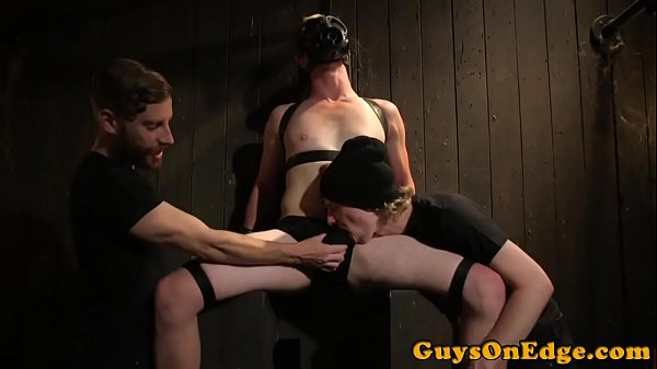 BDSM sub tied up and masked for jerking