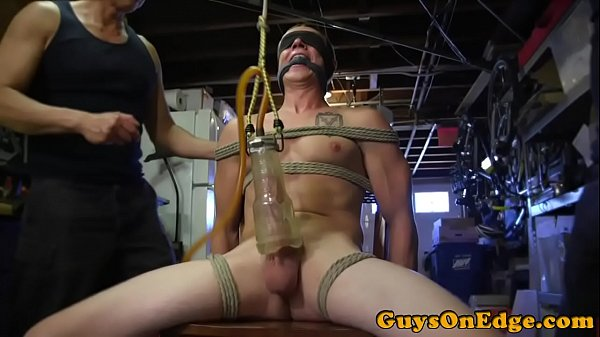 BDSM sub tied up and toyed before jerking