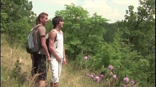 Boys threesome orgy outdoor