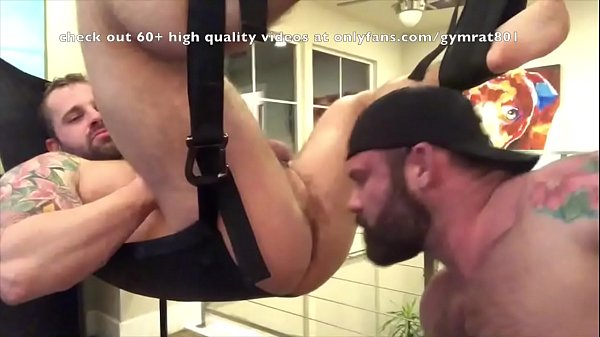 Muscle daddy rimming his bear in a sling