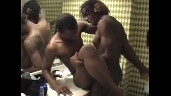 Ripped black dude fucks his gay lover in the bathroom