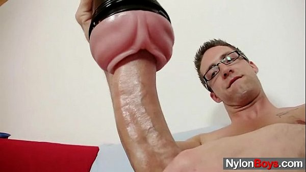 Solo gay Rick cums on his nylon tights